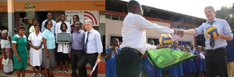 Volleyballs for elementary students and new HITA Office in Ghana